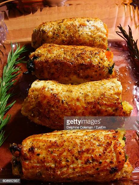 High Angle View Of Stuffed Turkey Cutlets On Table