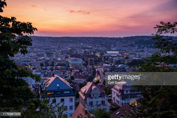 high angle view of stuttgart at sunset - stuttgart stock pictures, royalty-free photos & images