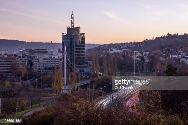 high angle view of stuttgart at twilight - stuttgart stock pictures, royalty-free photos & images
