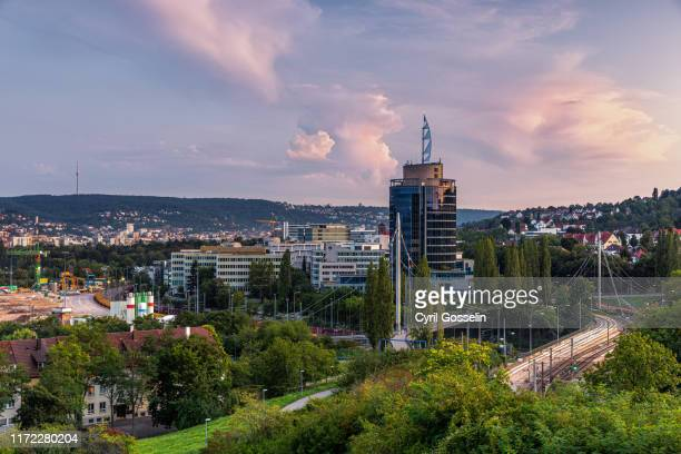 high angle view of stuttgart - dämmerung stock pictures, royalty-free photos & images