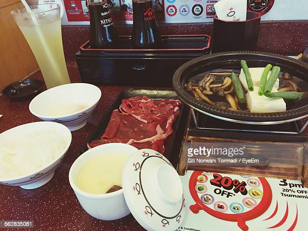 High Angle View Of Sukiyaki On Table