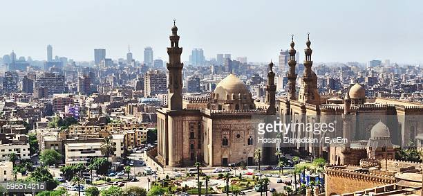 High Angle View Of Sultan Hassan Mosque And Cityscape Against Sky