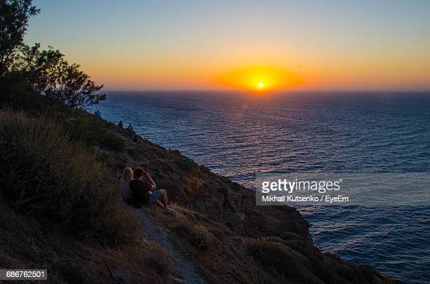 High Angle View Of Sunset Over Sea