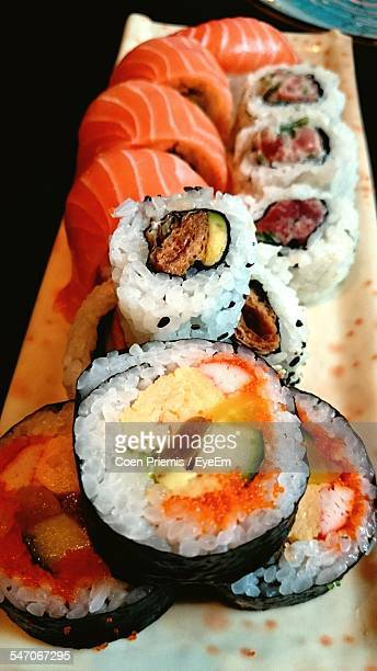 High Angle View Of Sushi