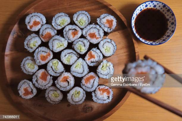 High Angle View Of Sushi Rolls Served In Plate