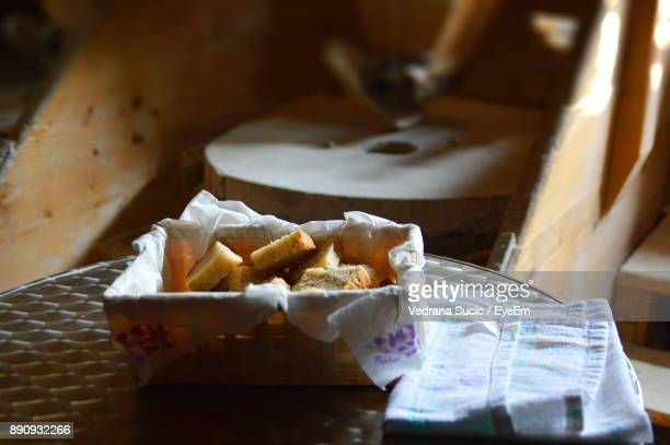 High Angle View Of Sweet Food In Box On Table