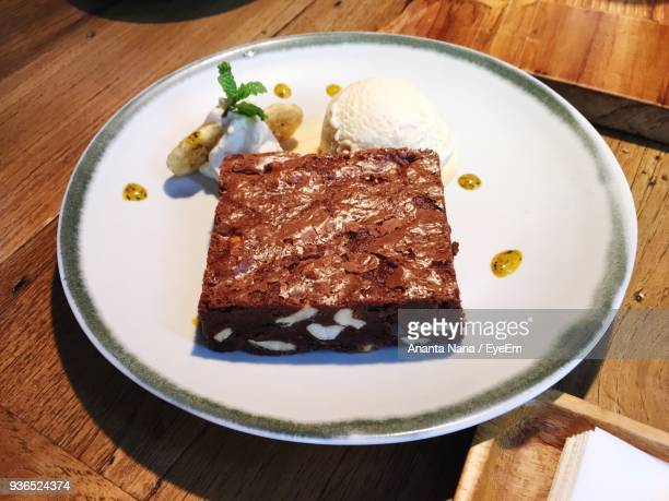 High Angle View Of Sweet Food In Plate On Table