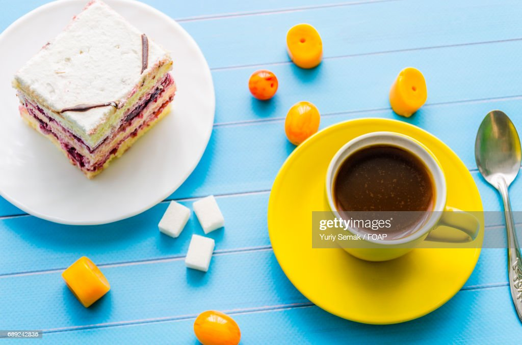 High angle view of sweets and coffee : Stock Photo