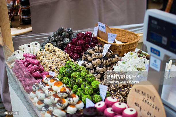 High Angle View Of Sweets On Market Stall