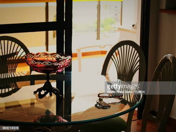 High Angle View Of Table And Chairs At Home