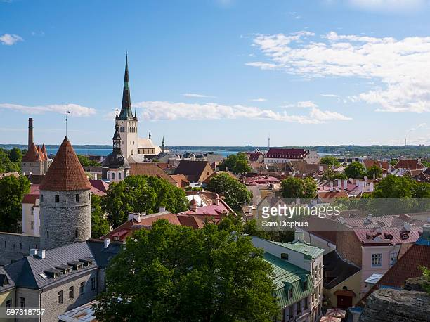 High angle view of Tallinn cityscape, Estonia