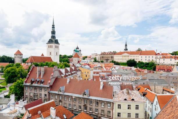 High angle view of Tallinn skyline, Estonia