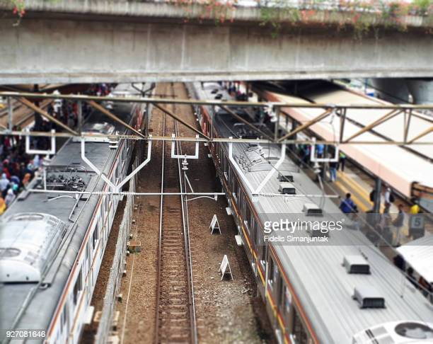 High angle view of Tanah Abang Train Station in Jakarta, Indonesia