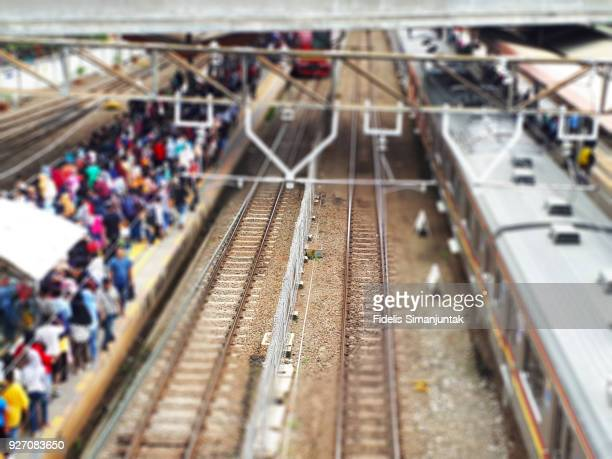 High angle view of Tanah Abang Train Station in Jakarta, Indonesia - Defocussed