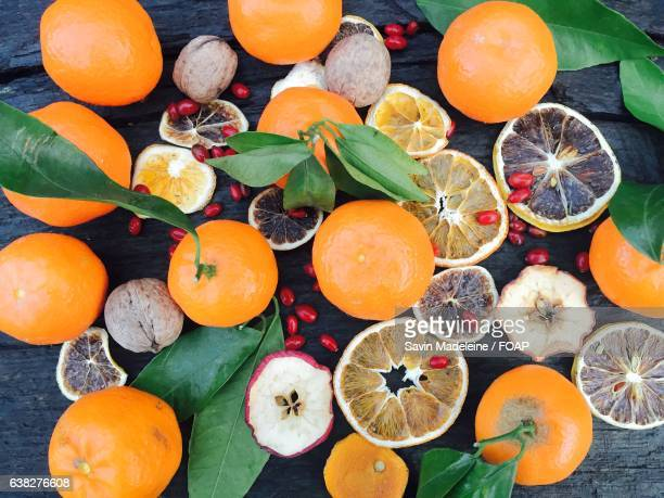 High angle view of tangerines