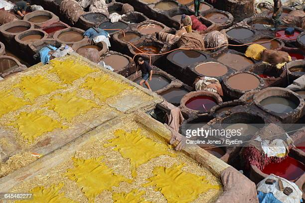 High Angle View Of Tannery