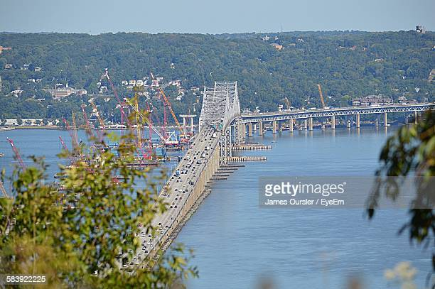 High Angle View Of Tappan Zee Bridge Over Hudson River