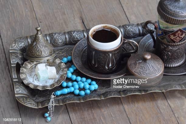 high angle view of tea on table - georgia stock-fotos und bilder