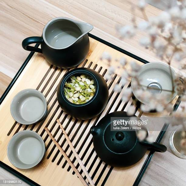 high angle view of tea on table - ceremony stock pictures, royalty-free photos & images