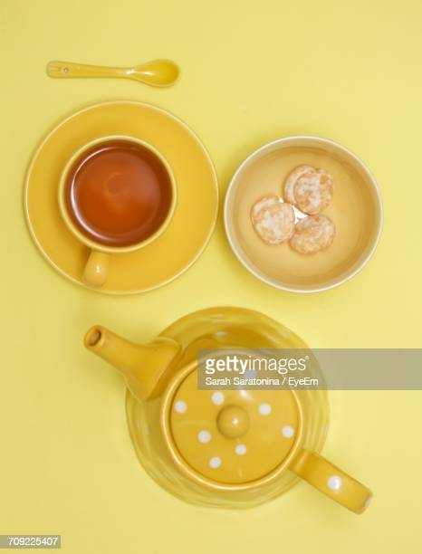 High Angle View Of Tea On Table