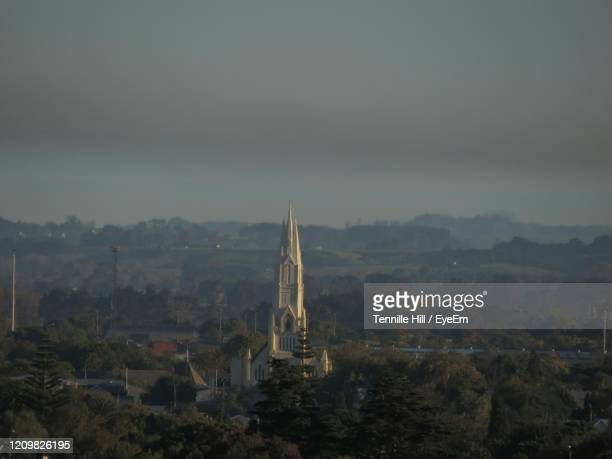 high angle view of temple against sky - palmerston north new zealand stock pictures, royalty-free photos & images