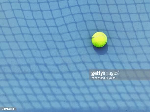 High Angle View Of Tennis Ball In Court