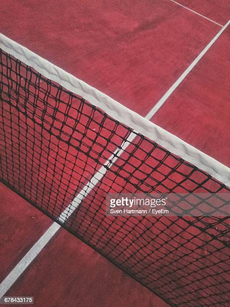 High Angle View Of Tennis Net In Court