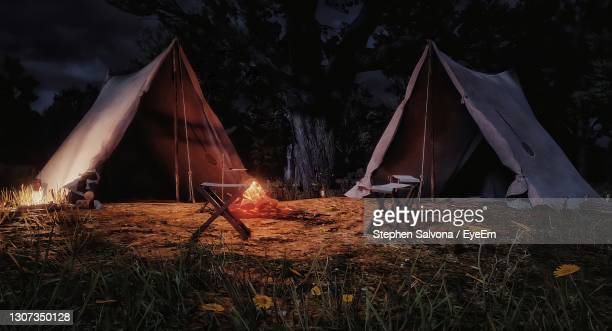 high angle view of tent on field against sky at night - dundee scotland stock pictures, royalty-free photos & images