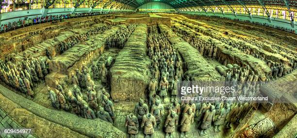 high angle view of terracotta army, xian, china - terracotta army stock pictures, royalty-free photos & images