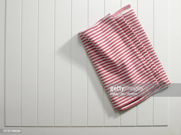 high angle view of textile on table - napkin stock pictures, royalty-free photos & images