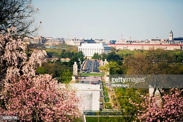 High angle view of the Arlington Cemetery, Memorial Bridge, Potomac River, Lincoln Memorial, Washington DC, USA,
