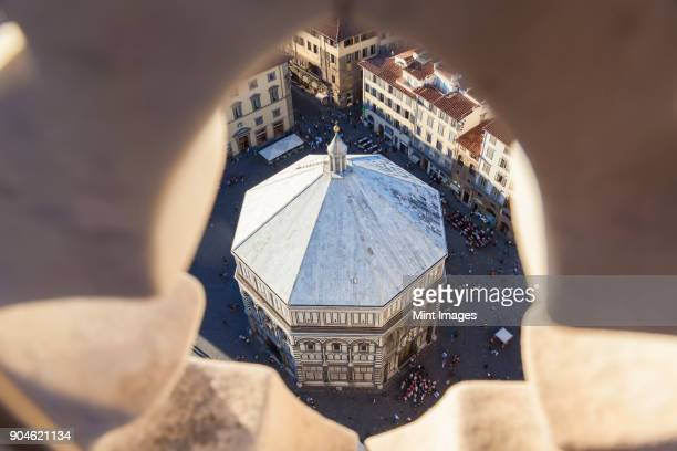 High angle view of the baptistry in Piazza del Duomo, Florence, Italy.