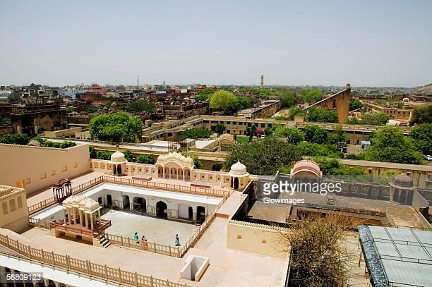 High angle view of the Chandra Mahal and Jantar Mantar observatory, Jaipur, Rajasthan, India