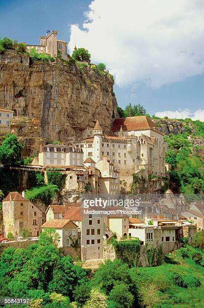 high angle view of the chateau rocamadour castle, rocamadour, france - ペリグー ストックフォトと画像