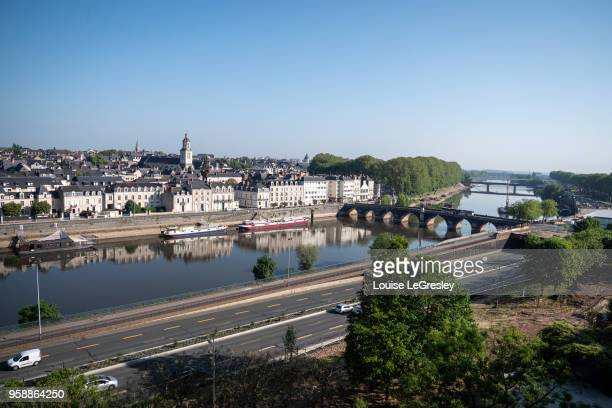 High angle view of the city of Angers, France situated in the Loire Valley