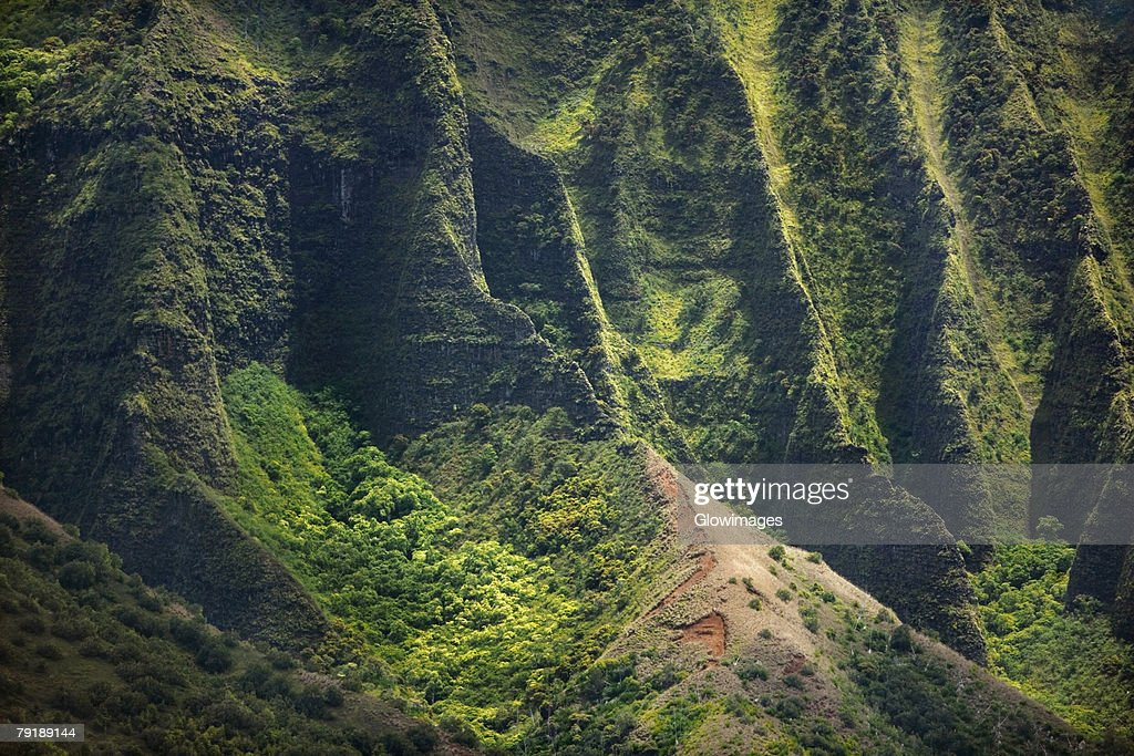 High angle view of the coast, Na Pali Coast, Kauai, Hawaii Islands, USA : Foto de stock