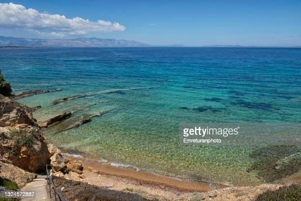 high angle view of the coastline in cesme. - emreturanphoto stock pictures, royalty-free photos & images