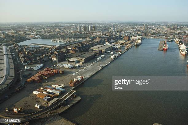 A high angle view of the docks and the Humber estuary from the dock tower in the seaport of Grimsby Lincolnshire England Grimsby is famous for its...
