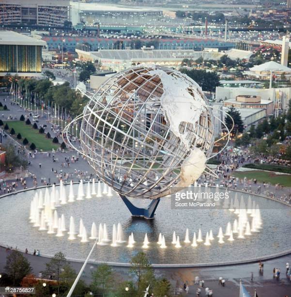 High angle view of the Flushing Meadows Park Unisphere during the World's Fair in Queens New York New York June 1965 Also visible is Singer Bowl...