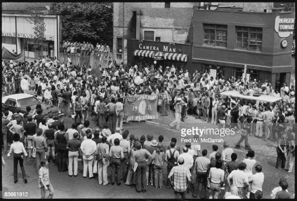 High angle view of the fourth annual Gay Pride Day March held on the anniversary of the Stonewall demonstrations June 24 1973