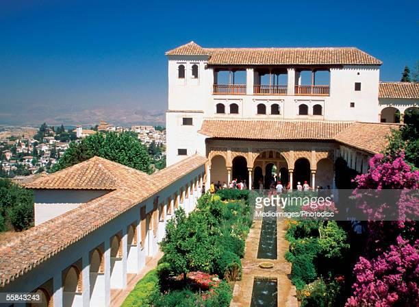 High angle view of the garden of Patio De La Acequia, Generalife, Granada, Spain