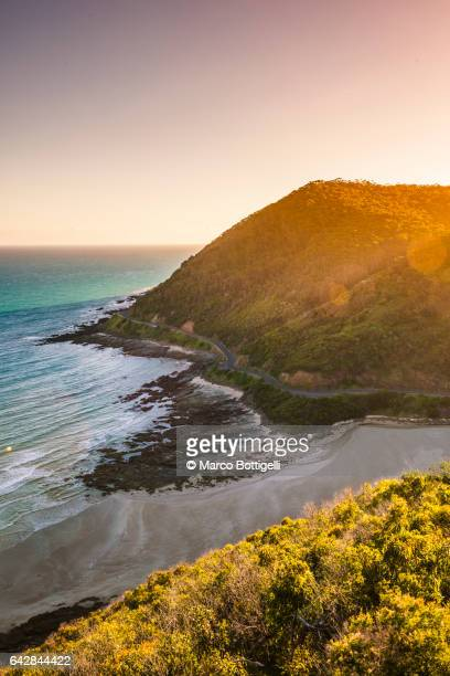 High angle view of the Great Ocean Road at sunset. Victoria, Australia.