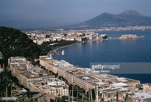 High angle view of the Gulf of Naples with Mount Vesuvius in the background, Italy, circa 1960.