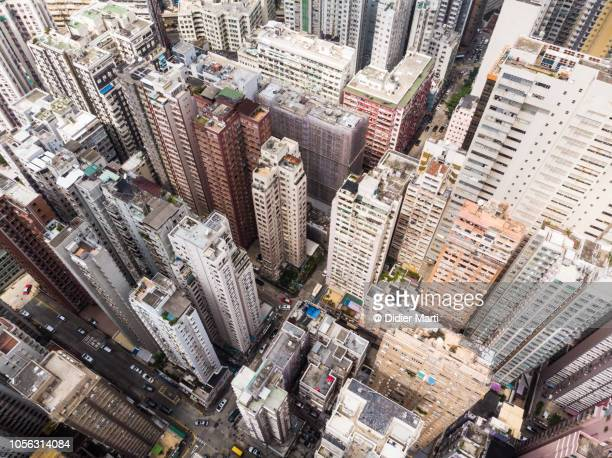 High angle view of the Hong Kong cityscape