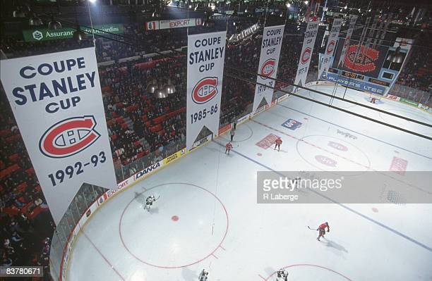 High angle view of the ice at the Montreal Forum, Montreal, Quebec, Canada, mid 1990s. Stanley cup victory banners are visible.