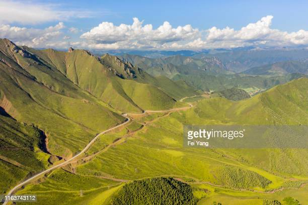 high angle view of the mountain of the tibetan plateau - 台地 ストックフォトと画像