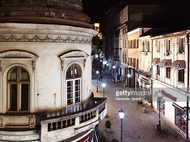 High angle view of the Old Town (Orasul Vechi) in Lipscani at night, Bucharest, Romania