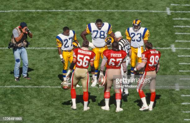 A high angle view of the opening coin toss at Candlestick Park stadium during a National Football League game between the San Francisco 49ers and the...