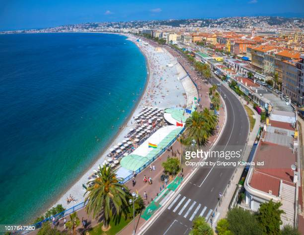 High angle view of the Promenade des Anglais and downtown in Nice, France.