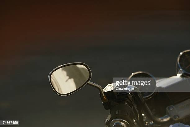 High angle view of the rear view mirror of a motorcycle